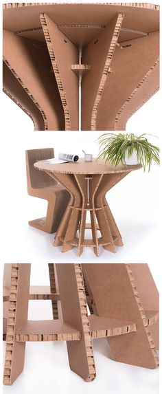 Lightweight and very useful. A round surface place Cardboard Chair, Diy Cardboard Furniture, Cardboard Letters, Cardboard Design, Paper Furniture, Cardboard Display, Cardboard Paper, Furniture Legs, Newspaper Basket