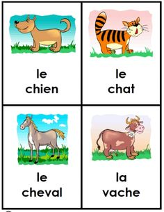 FREE and easy to download & print at FransFreebies.com: French Animal Friends -- set of 40 large cards for little hands!