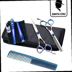 52.00$  Buy now - http://aliqcd.worldwells.pw/go.php?t=1687700352 - Smith Chu 5.5 in. Best Professional Hair Scissors set ,Straight & Thinning barber shears,6CR13,58HRC,free shipping