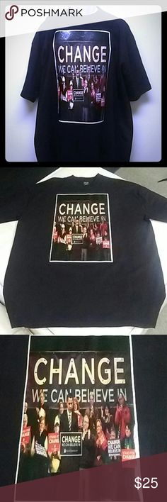President Obama collectible- Change t-shirt 1pc Black President Obama collectible tee. W/rhinestones   Change t-shirt 100% cotton . all tee are size XL Tops Tees - Short Sleeve