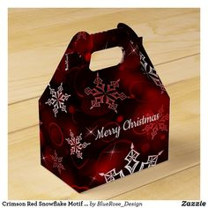 Crimson Red Snowflake Motif Gable Favor Box Holiday Parties, Holiday Cards, Christmas Cards, Christmas Favors, Christmas Card Holders, Favor Boxes, Hand Sanitizer, Corporate Events, Keep It Cleaner