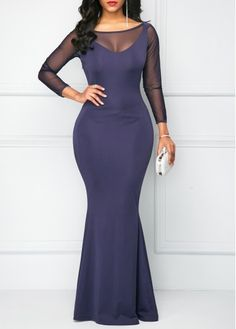 9482e2e5e04 Navy Blue Bowknot Back Mesh Panel Mermaid Dress on sale only US 35.37 now