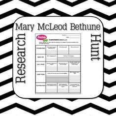 Enjoy your Mary McLeod Bethune Research Hunt!Mary McLeod Bethune Research Hunt is great for basic independent research using Pebble Go or other resources. My third graders enjoy learning about the life of Mary McLeod Bethune. It outlines questions for students to discover through their online search of the life of Mary McLeod Bethune.