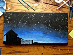 Easy Acrylic Painting On Canvas | Star Gazing Silhouette Acrylic Canvas Painting - CraftStylish Sky Painting, Acrylic Canvas, Simple Acrylic Paintings, Acrylic Painting Canvas, Painting & Drawing, Canvas Art, Black Canvas Paintings, Owl Canvas, Farm Paintings
