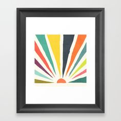 whimsical geometric illustration of colorful sun rays in groovy retro hue