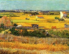 Harvest at La Crau, with Montmajour in the Background - Vincent van Gogh
