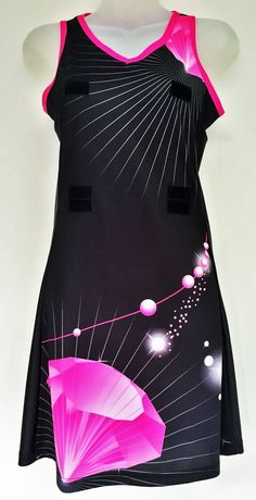 A great A-Line netball dress we designed for Diamonds Netball Club, visit http://www.custom-made-sportswear.com/ to design your own A-line netball dress in a few easy steps