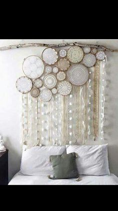 Round lace doilies inside hoops..add streamers!!!