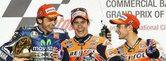 Rossi, Marquez and Pedrosa Podium Qatar MotoGP 2014