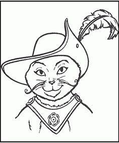 Den bestøvlede kat Tegninger til Farvelægning. Printbare