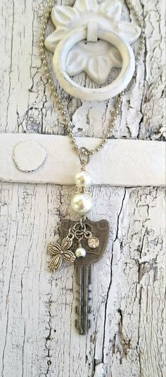 Repurposed Key Necklace CrOsS NeCklAce by SecretStashBoutique