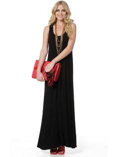 RAXSTA Γυναικείο μάξι αμάνικο φόρεμα, δαντέλα στην πλάτη, μαύρο χρώμα. 100% Cotton
