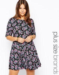 Club L Plus Size Floral Print Smock Dress - multi