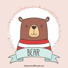 Adorable oso con una camiseta de rayas dibujado a mano