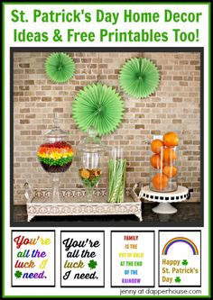 St. Patrick's Day Home Decor Ideas and Free Printables Too from Jenny at dapperhouse