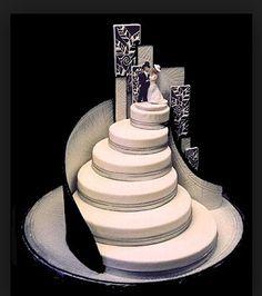Dramatic Black and White Cake