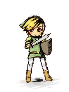 The legend of Zelda fan art - Link Link Zelda, Wind Waker, Twilight Princess, Cute Chibi, Geek Art, Legend Of Zelda, Funny Cute, Nerdy, Video Games