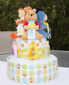 Very rarely do you see a diaper cake with the three buddies on it. This tops most Winnie the Pooh themed diaper cakes! Baby Shower Items, Baby Shower Cakes, Baby Shower Gifts, Diaper Cake Boy, Nappy Cakes, Diy Teddy Bear, Baby Shower Gender Reveal, Baby Crafts, Cookie Decorating