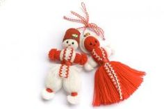 Red and white dolls Bulgaria Baba Marta celebration of the beginning of spring! Yarn Crafts, Diy Crafts, Sewing Crafts, Baba Marta, Little Passports, Yarn Dolls, Wedding Mugs, Holidays Around The World, Spring Sign