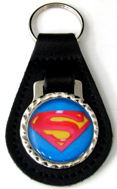 Superman 3D Logo Black Genuine Leather Key Fob With Steel Ring FOB-0031