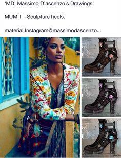 'MD' Massimo D'ascenzo Beautiful Designs. MUMIT FOOTWEAR BY Massimo D'ascenzo.  MUMIT Leisure/Sculpture Heels.....   Instagram@massimodascenzo  www.massimod.com  #luxury#jewellery#handbags#love#fashionAddict#luxuryDesigns.  https://www.facebook.com/pages/ Massimo-Dascenzo-Luxury-Jewellery-Handbags/485052561622939?ref=hl