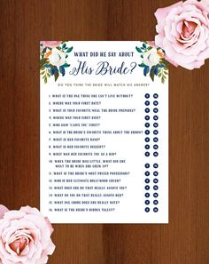 5x7 What Did He Say About His Bride Game - Navy Text | Traditional Bridal Shower Game Printable | DIY Instant Download | Muted Blooms by BeckyNimoy on Etsy https://www.etsy.com/listing/463313132/5x7-what-did-he-say-about-his-bride-game