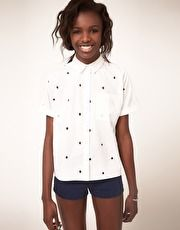 ASOS Shirt With Cut-Out Embroidered Spots