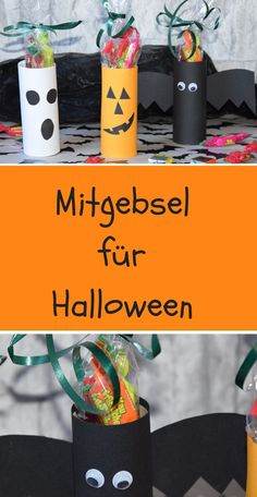Small gifts for Halloween quickly made. with toilet paper rolls and a little p . - Small gifts for Halloween quickly made. with toilet paper rolls and some paper. So Halloween is gre - Diy Halloween, Hallowen Party, Halloween Treats For Kids, Halloween Activities For Kids, Halloween Party Games, Dollar Store Halloween, Kids Party Games, Happy Halloween, Halloween Decorations