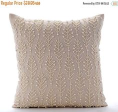 ON SALE 10% Beige Couch Cushion Covers 16 x 16 by TheHomeCentric: