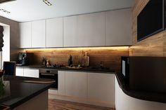 cuisine blanche avec des armoires de rangement et éclairage intérieur