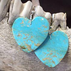 Eat Your Heart Out! Kingman turquoise slab earrings by Jennifer Medina, Santo Domingo Pueblo