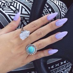 Love this color, purple nails, gypsy, rings, big rings