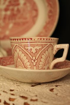 old red transferware