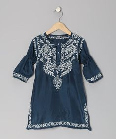 Take a look at this Navy & White Embroidered Silk Dress - Toddler & Girls by Alejandra Kearl Designs on #zulily today!