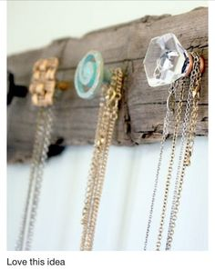 I want to do this, but as a coat hanger for the hallway. Cute DIY necklace hanger
