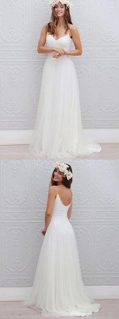 beach wedding dresses,open back wedding dresses,spaghetti strap wedding dresses,bridal gowns,simple wedding dresses