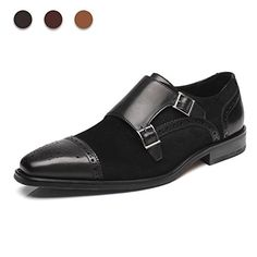 d0fee8acb71 Black Genuine Leather Monk Brogues Cap Toe Double Buckle Straps Shoes for  Men s - Dress Formal