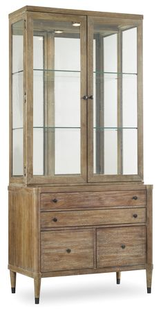 Crafted of acacia, this rustic utility-cabinet-and-hutch duo includes a…