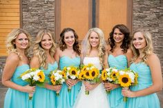 Robin egg blue wedding sunflowers country
