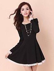 Women's Long Sleeved Spring Dase Slim Dress – USD $ 23.09