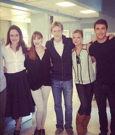 Madeleine Stowe (Victoria), Christa B. Allen (Charlotte), Gabriel Mann (Nolan), Emily VanCamp (Emily) and Joshua Bowan (Daniel) behind the scenes of Revenge.