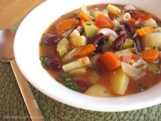 """Minestrone is known in Italy as """"the big soup"""" since it is thick with colorful ingredients. It has no set list of """"must have"""" ingredients, but vegetables in tomato broth with beans and pasta is com. Delicious Vegan Recipes, Vegetarian Recipes, Healthy Recipes, Vegan Blogs, Healthy Soup, Soup Recipes, Whole Food Recipes, Chili Soup, Vegan Soups"""