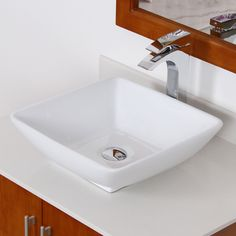This Elite bathroom sink is constructed of grade A ceramic in a stylish, modern square design. This vessel-style sink comes with a solid brass umbrella basket pop-up drain with overflow.