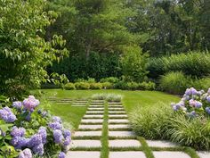 Pavers, Purple, Grass Walkway and Path Barry Block Landscape Design & Contracting East Moriches, NY Backyard Garden Landscape, Small Backyard Gardens, Terrace Garden, Garden Landscaping, Landscaping Ideas, Garden Pavers, Modern Backyard, Landscaping Software, Large Backyard