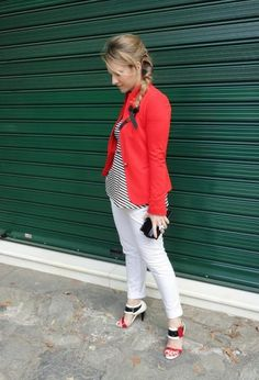 red blazer black white stripe peplum white skinny jeans