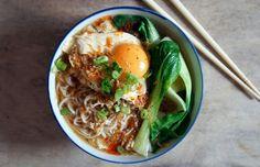 Healthy Ramen Recipes: Miso Ramen Soup With Pak Choi, Poached Egg and Crispy Shallots Recipe