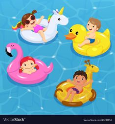 Children floating on inflatable vector