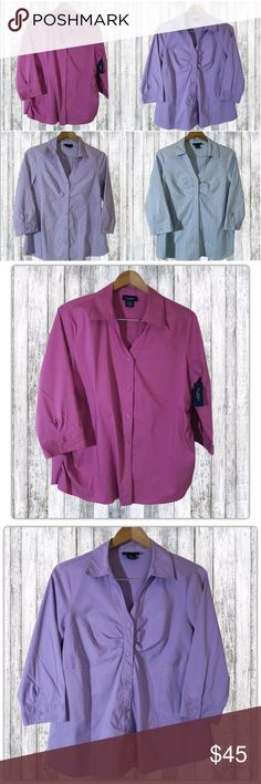 4 Maternity Button Down Career Work Shirts Sz L 4 Career wear maternity shirts  Brand:  New Additions Maternity Style: 3/4 Sleeve stretch button down Size: Women's L  With the perfect amount of stretch, these shirts are excellent for the working mom-to-be. This listing includes 4 maternity shirts:  1 Pink top (NEW with tags), 1 purple, 1 purple and white striped, and 1 blue and white striped.  Each top retails $30!  Pink top:  Ruching at the hips. Purple, purple striped, blue striped…