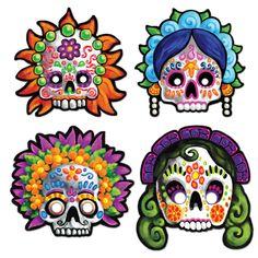 4 pc Sugar Skull DIA DE LOS MUERTOS Paper Masks DAY of the DEAD Party Favors  | eBay
