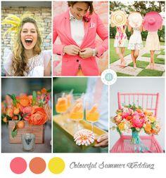 Estos colores para tema de boda en verano, es apta para pareja divertidas y alegres que quieran que los colores de su boda reflejen su propia personalidad. #colors #wedding #verano